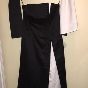 David's Bridal Bridesmaid Dress/Evening Gown, b&w